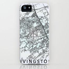 Livingston, Scotland, White, City, Map iPhone Case