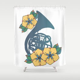 Blue French Horn Shower Curtain