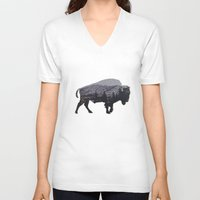 american V-neck T-shirts featuring The American Bison by Davies Babies