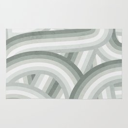 Elegant Gray Green Stripes Rug