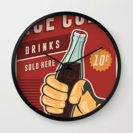 Ice Cold Drinks Wall Clock
