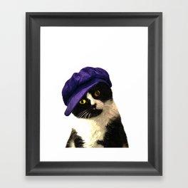 Cat Blue Hat Framed Art Print