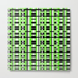 Plaid in Lime Green, Black & Gray Metal Print