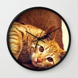 Relaxing Orange Tabby Cat Wall Clock