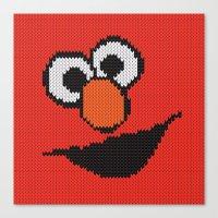 elmo Canvas Prints featuring Knit Elmo by colli1 3designs