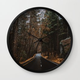 AUTUMN FOREST ROAD Wall Clock