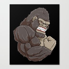 Gorilla At The Gym | Fitness Training Muscles Canvas Print
