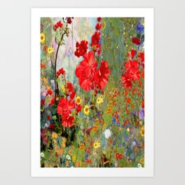 Red Geraniums in Spring Garden Landscape Painting Art Print