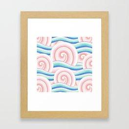 Pastel Auspicious Waves Framed Art Print