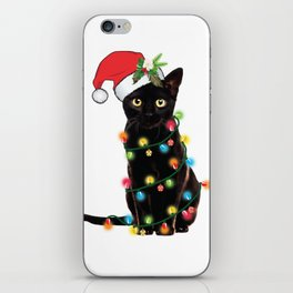 Santa Black Cat Tangled Up In Lights Christmas Santa T-Shirt iPhone Skin