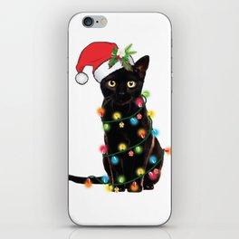 Santa Black Cat Tangled Up In Lights Christmas Santa T-Shirt iPhone Skin