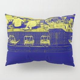 Blue Diner in Yellow Pillow Sham