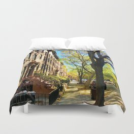 Cobble Hill Brooklyn New York in the Fall, Brownstones Duvet Cover