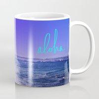 aloha Mugs featuring Aloha by Leah Flores