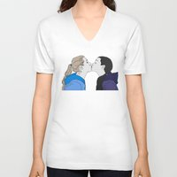 girly V-neck T-shirts featuring Girly kiss by VikaValter