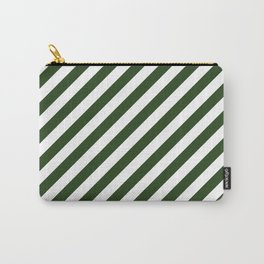 Large Dark Forest Green and White Candy Cane Stripes Carry-All Pouch