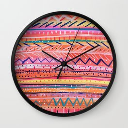Hand painted Bright Patterned Stripes Wall Clock