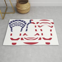 Lacrosse US Flag Head Trio Rug