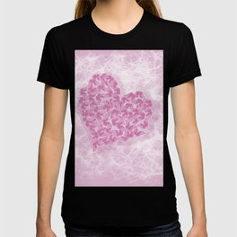 Delicate pink butterflies on a silky pink background T-shirt