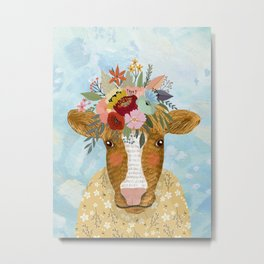 Cute cow with flowers on head, floral crown farm animal Metal Print