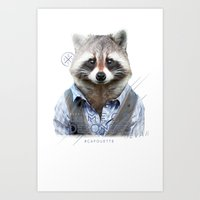 racoon Art Prints featuring Racoon by iacolarepierre