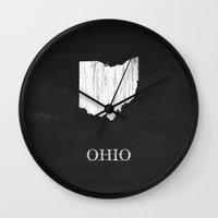 ohio state Wall Clocks featuring Ohio State Map Chalk Drawing by Finlay McNevin