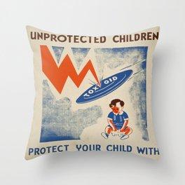 Vintage poster - Diptheria Throw Pillow