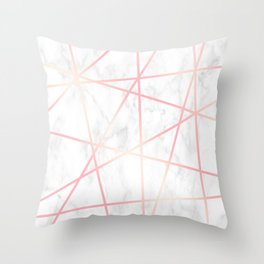 Modern white marble and pink rose gold geometric pattern Throw Pillow