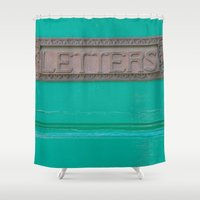 letters Shower Curtains featuring Letters by Riot Jane