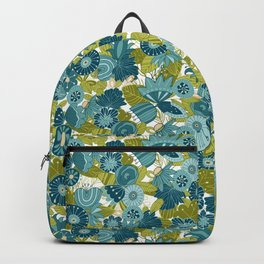 Whimsical Blue and Green Floral Backpack