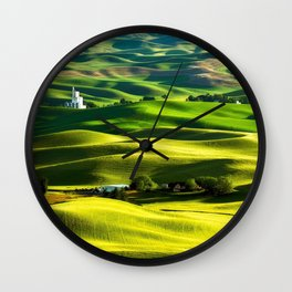 Rolling Hills & Fields of Wheat in Palouse ,Washington by Malcolm Carlaw Wall Clock