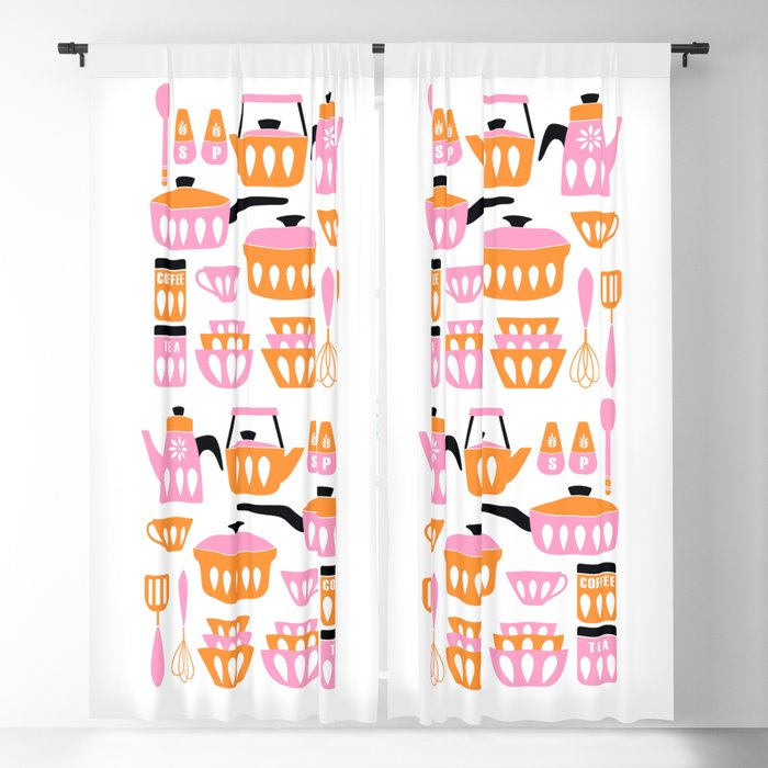 My Midcentury Modern Kitchen In Pink And Tangerine Blackout Curtain By Sunnybunny Society6
