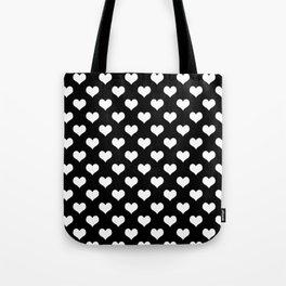 Black White Hearts Minimalist Tote Bag