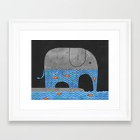 orange Framed Art Prints featuring Thirsty Elephant  by Terry Fan