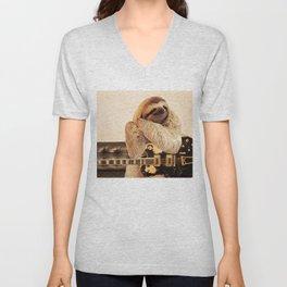 Rockstar Sloth Unisex V-Neck