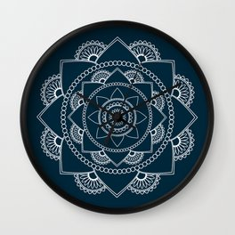 Mandala 01 - White on Navy Blue Wall Clock