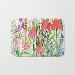 Garden Flowers Watercolor Bath Mat