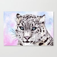 snow leopard Canvas Prints featuring Snow Leopard by KimCarter