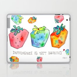 Difference Is Not Wrong watercolor painting strawberry illustration fruits nursery kitchen Laptop & iPad Skin