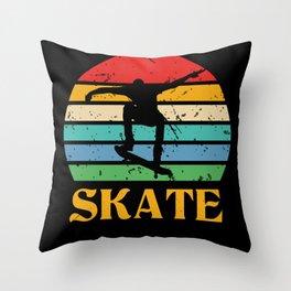 Retro Skate Skateboard Skateboarding Throw Pillow