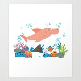 Family Shirt - Grandma Shark Shirt Art Print