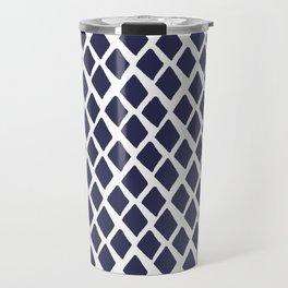 Rhombus Blue And White Travel Mug