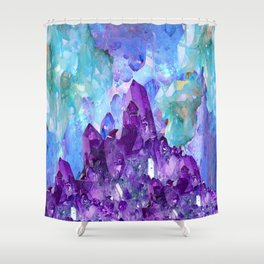 PURPLE AMETHYST CRYSTALS & BLUE-GREEN AQUAMARINE Shower Curtain