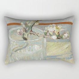Vincent Van Gogh - Sprig of flowering almond in a glass Rectangular Pillow