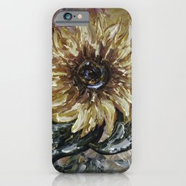 Blooming Sunflower Painting with a Palette Knife by OLena Art iPhone Case