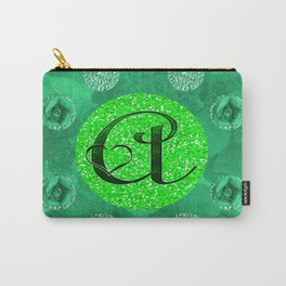 green initial a Carry-All Pouch