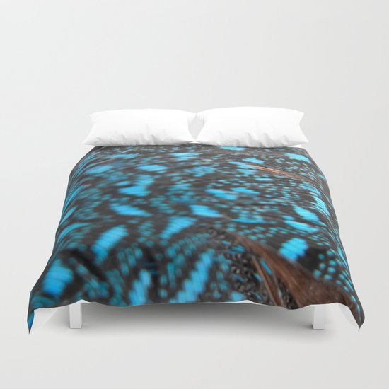Blue Feather Duvet Cover