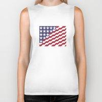 american flag Biker Tanks featuring American Flag by Mychal Diaz
