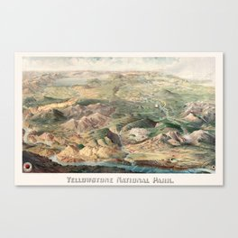 Vintage Map of Yellowstone National Park, 1904 Canvas Print