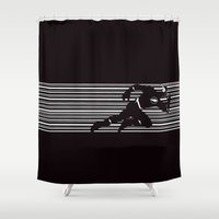 flash Shower Curtains featuring flash by MISTER BLACKWHITE
